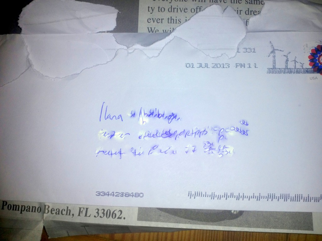 I blurred out the address because I don't want creepy stalker letters from you either.