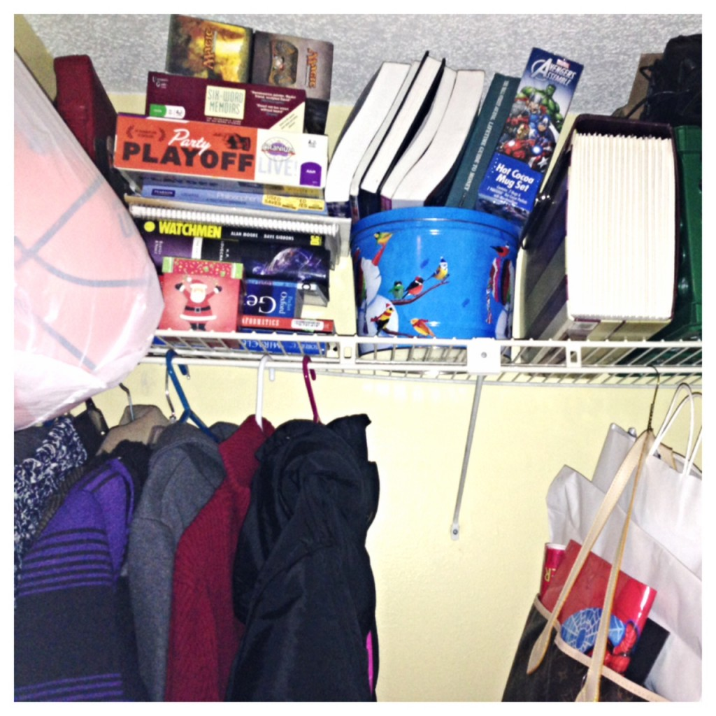 The downstairs closet looking a little less...overcrowded. Yes. This is an after picture.